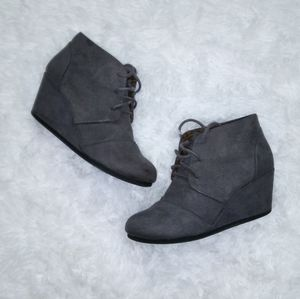 Maurices gray wedge ankle booties